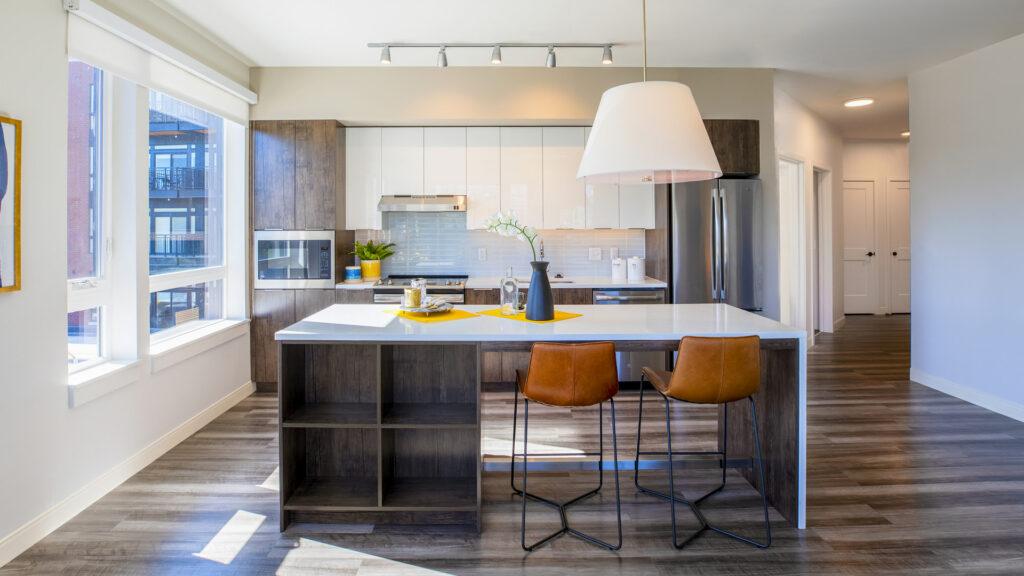 walkin kitchen and wooden