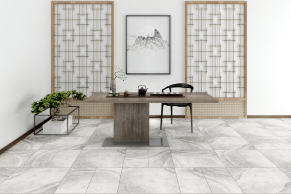 white tiles and