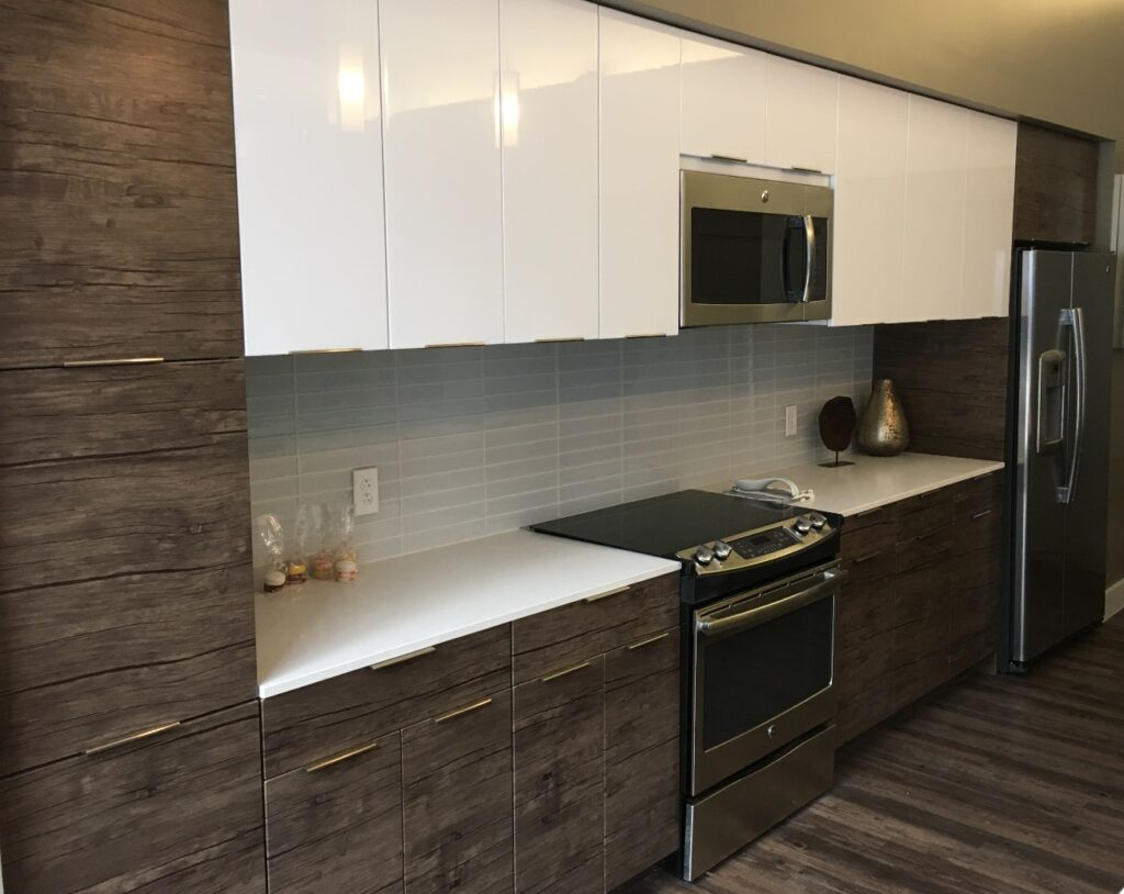 white cabinet and wooden